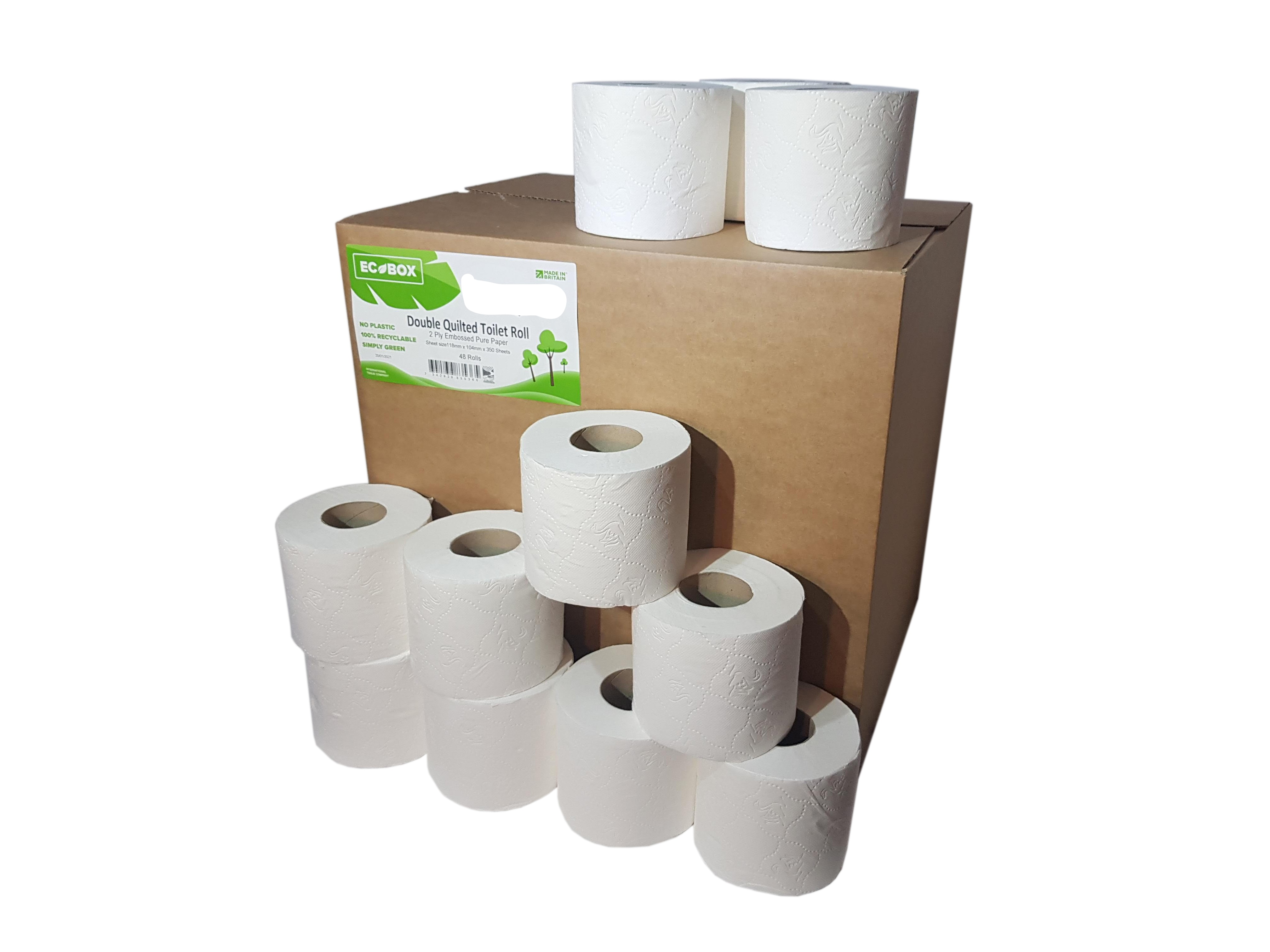 350 Sheet Double Quilted Pure Pulp Toilet Roll x 48 Rolls