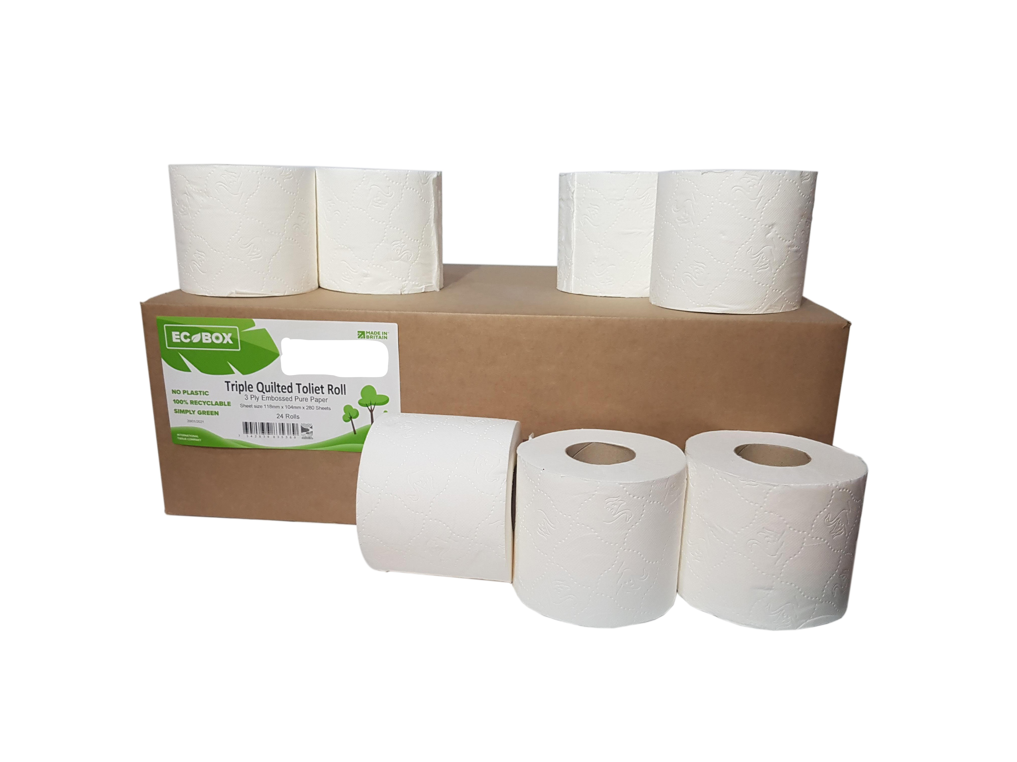 280 Sheet Triple Quilted Pure Pulp Toilet Roll x 24