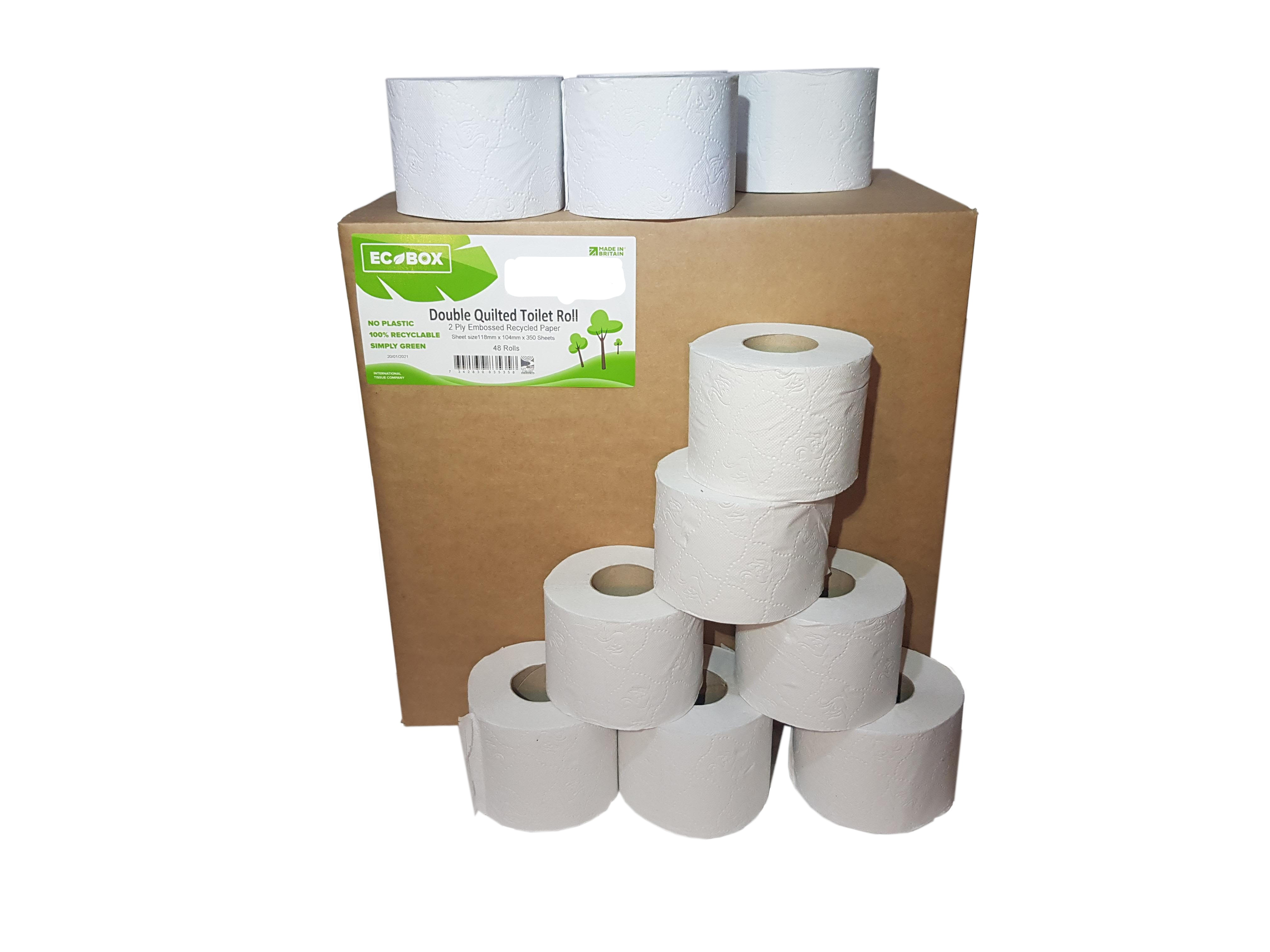 350 Sheet Double Quilted Recycled Toilet Roll x 48 Rolls