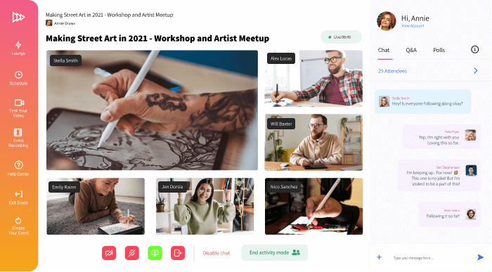 Conifer web app showing an art livestream and six participants