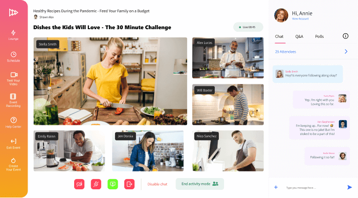 Conifer web app showing a cooking livestream and six participants