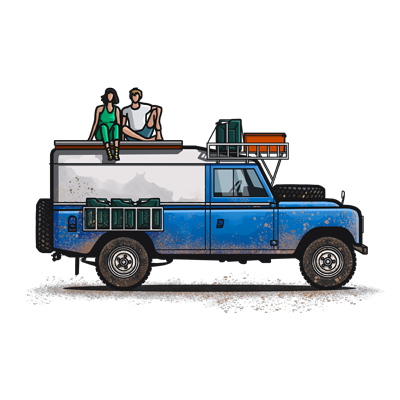 Illustration of Alec and Jan sitting on top of their legendary Land Rover Series 3