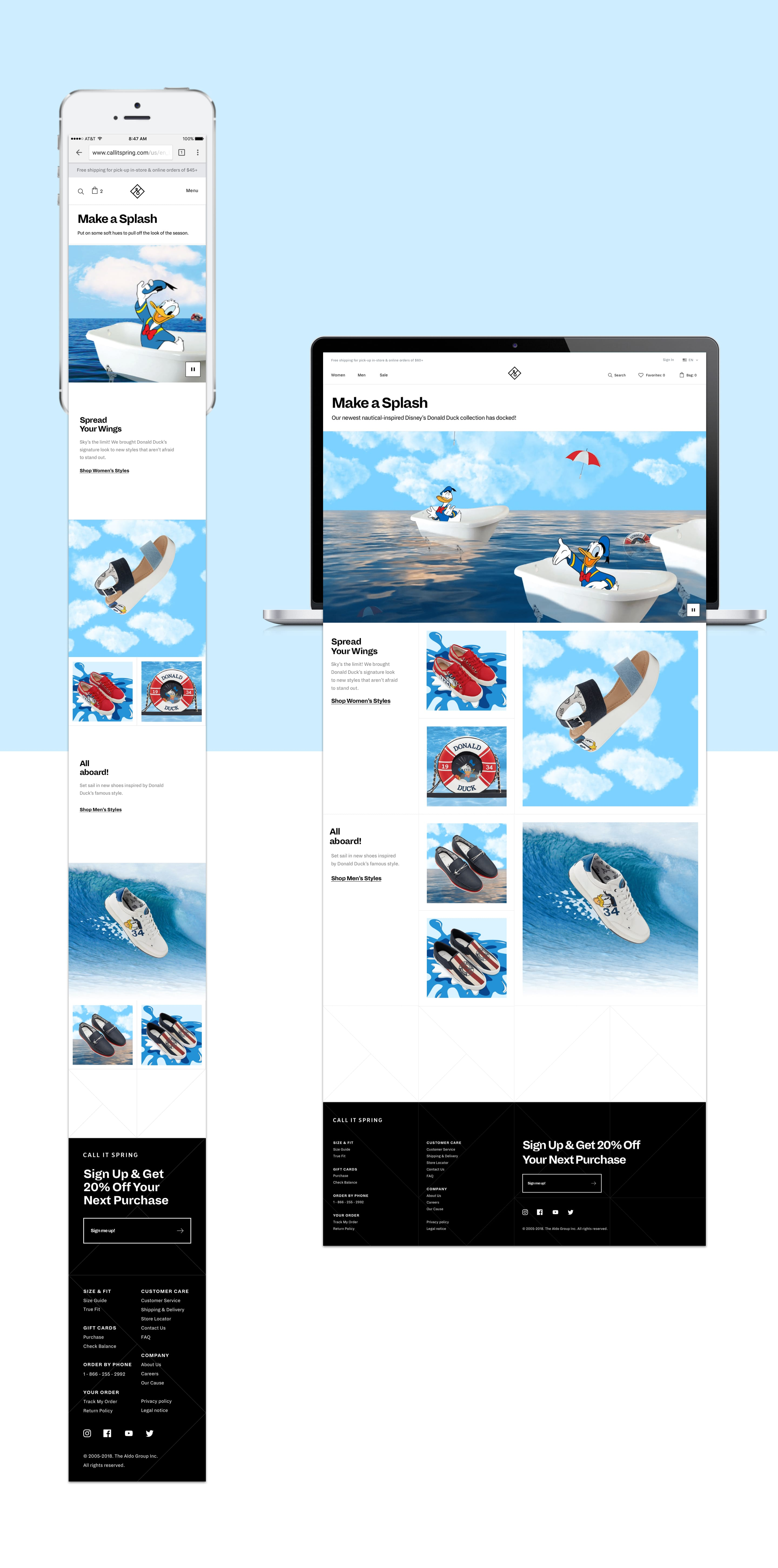 Screenshots of the desktop and mobile Donald Duck x Call it Spring landing pages
