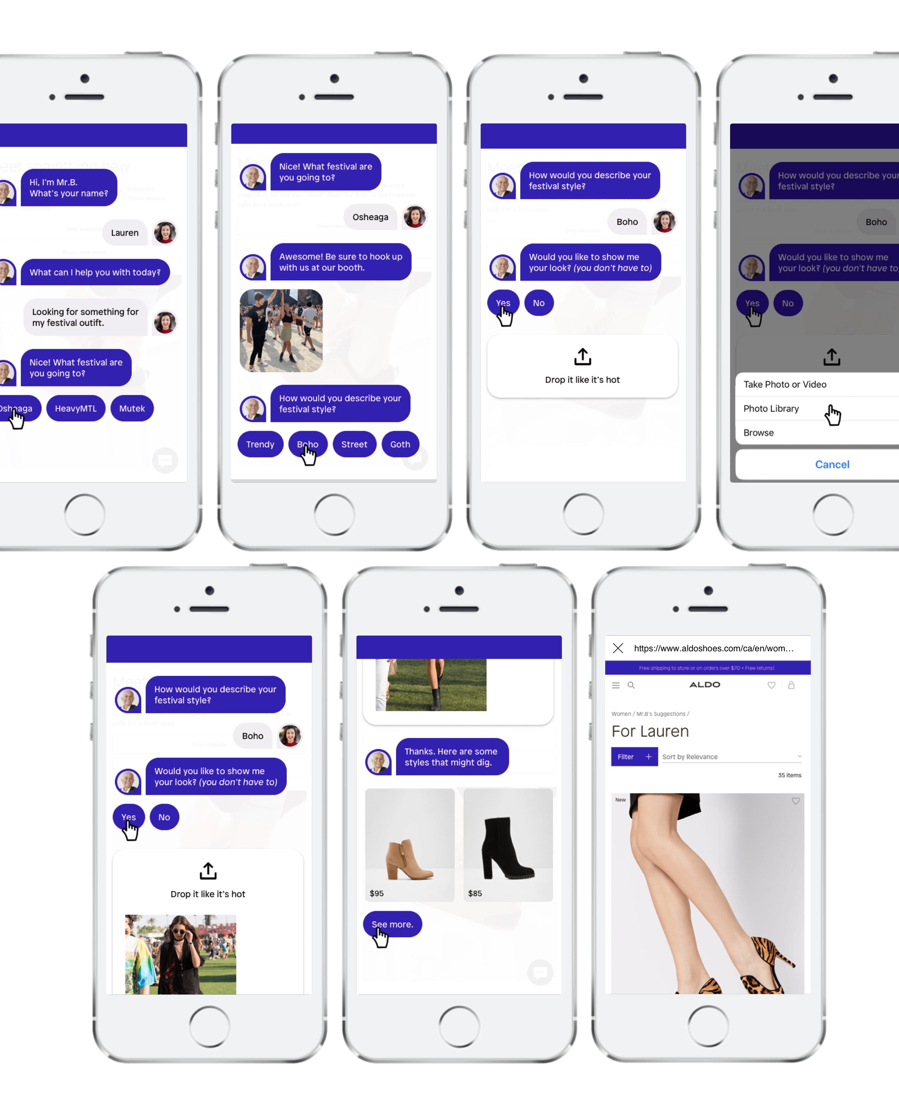 Chatbot conversation - virtual stylist - festival styles.