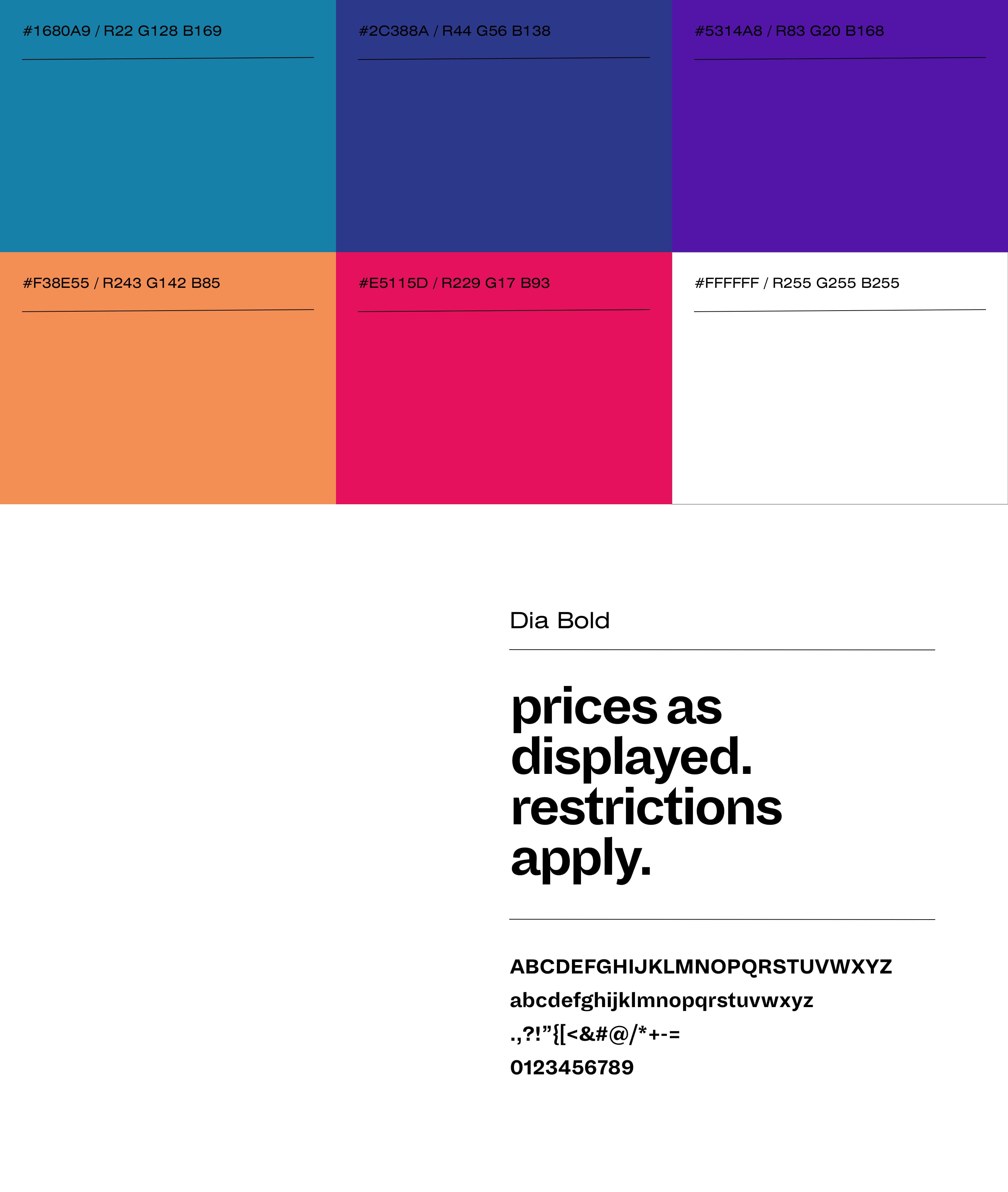 Colour palette and typography for the Call it Spring boost sales kit.