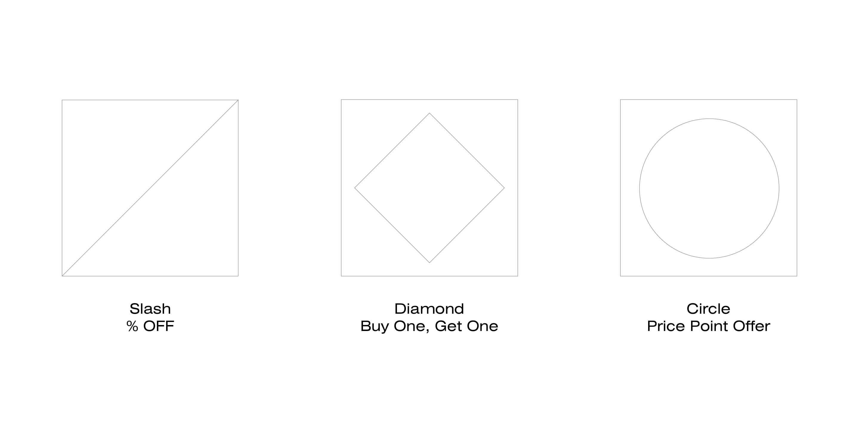 Graphic elements for different offer types.