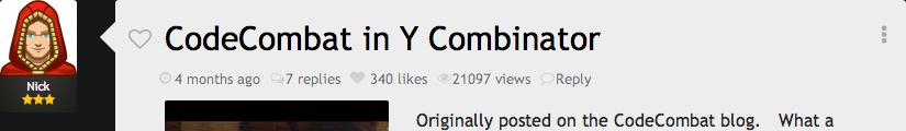 Original post: CodeCombat in Y Combinator