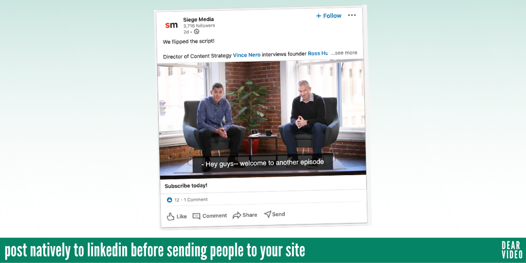 post natively to social media before linking to your site