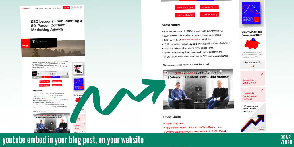 youtube embed in your blog post