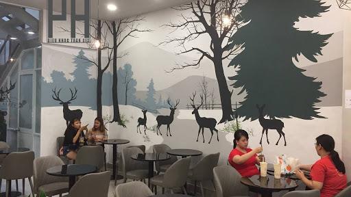 mẫu vẽ tranh tường quán cafe đơn giản