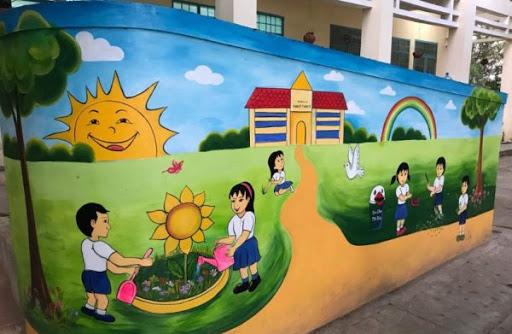 vẽ tranh tường trường tiểu học