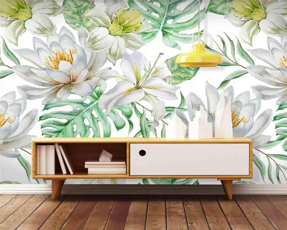 vẽ tranh tường hoa lá