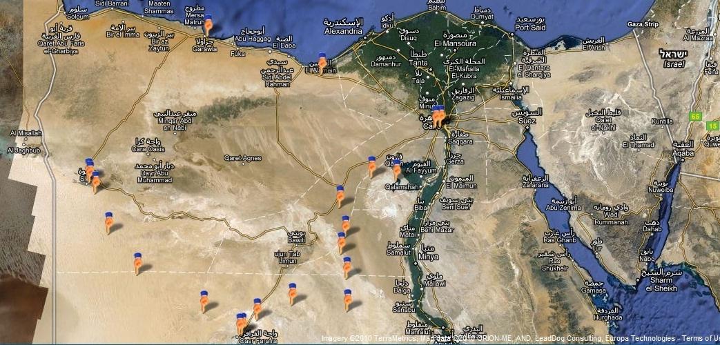 מפה לווין בטיול במדבר המערבי