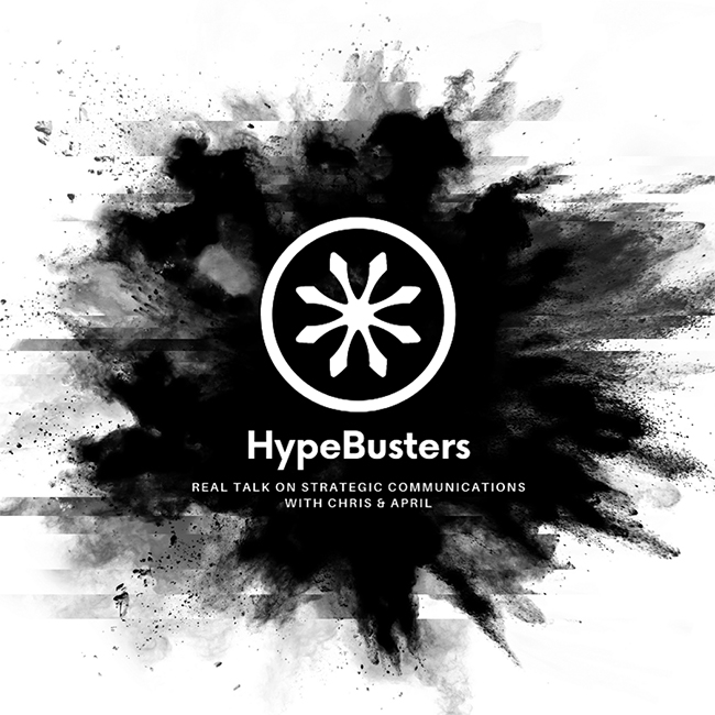 Cover art of the Hype Busters podcast with an inkblot on a white background.