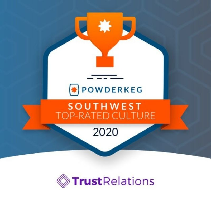 The PowderKeg award logo is accompanied by the Trust Relations logo.