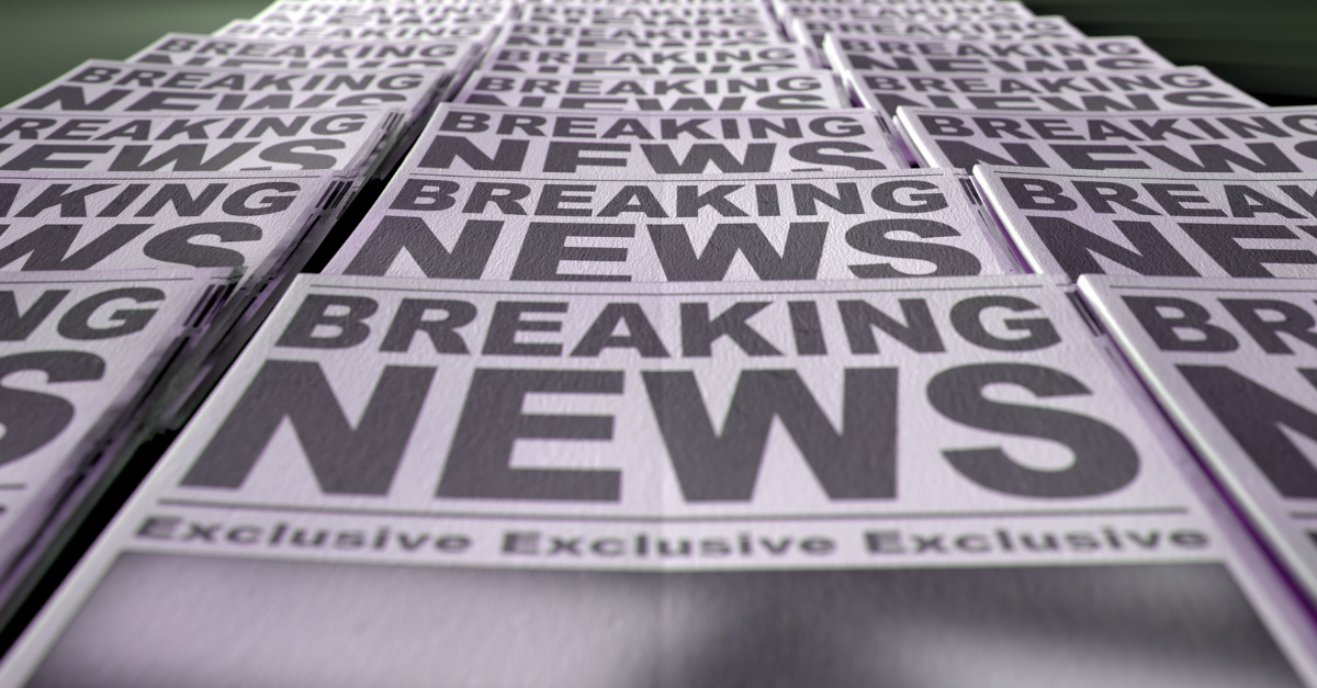 """A stack of newspapers spreads out to a vanishing point, each with a headline that reads """"BREAKING NEWS."""""""