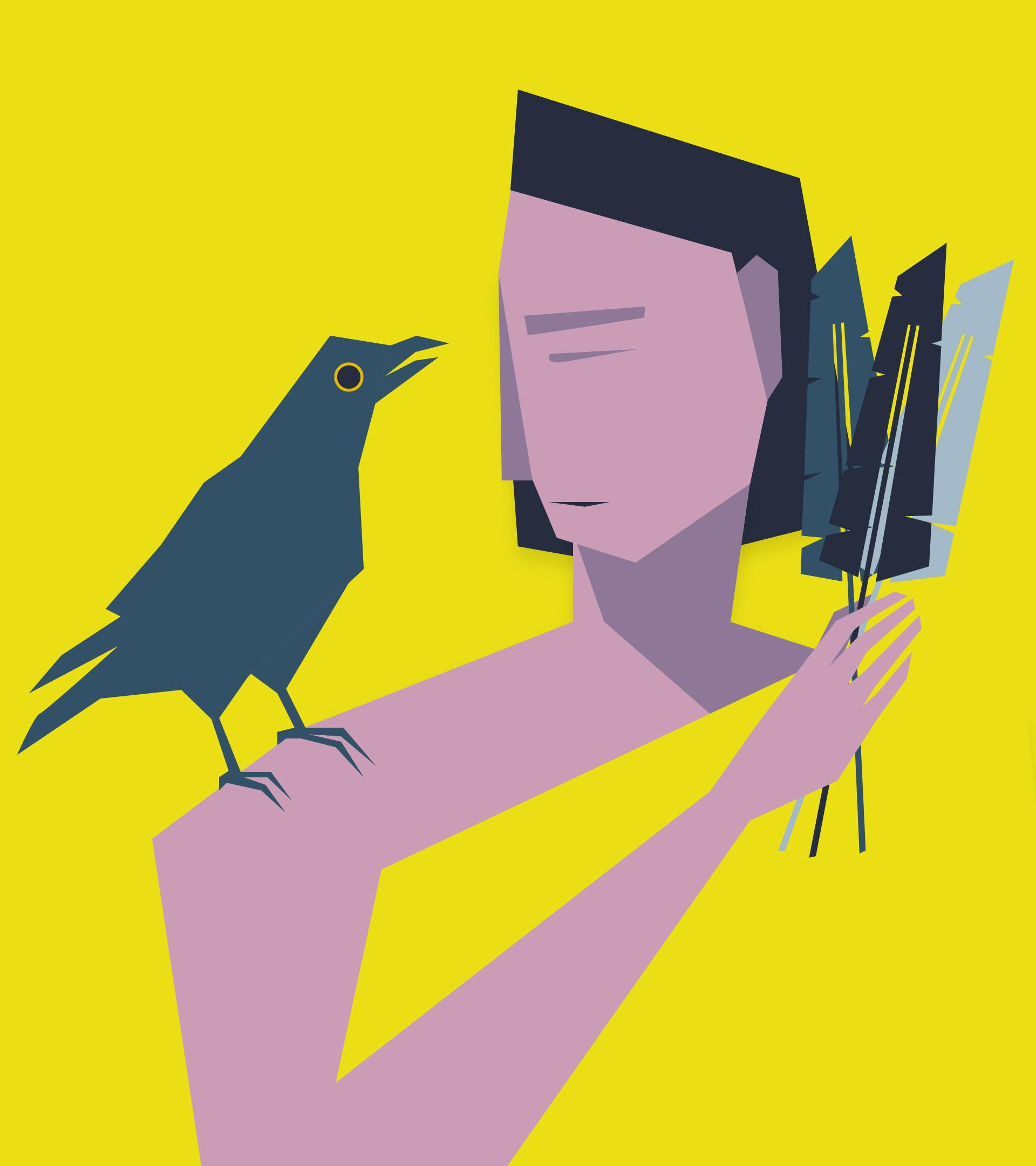 Personaje que tiene plumas en su mano y le acompaña un cuervo encima del hombro