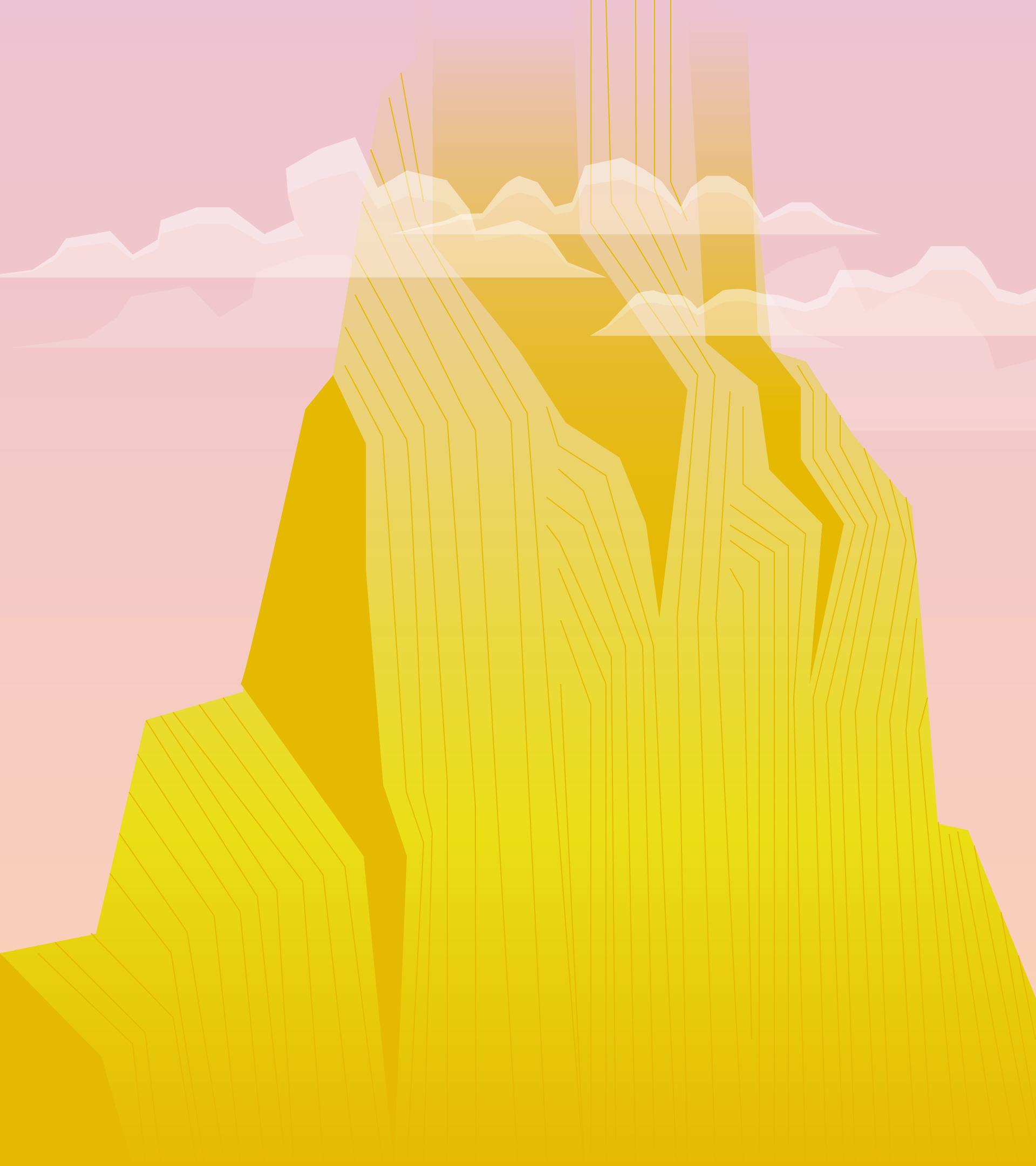 Se muestra una montaña tan alta que no se aprecia la cima. Las nubes están entre la media altura.