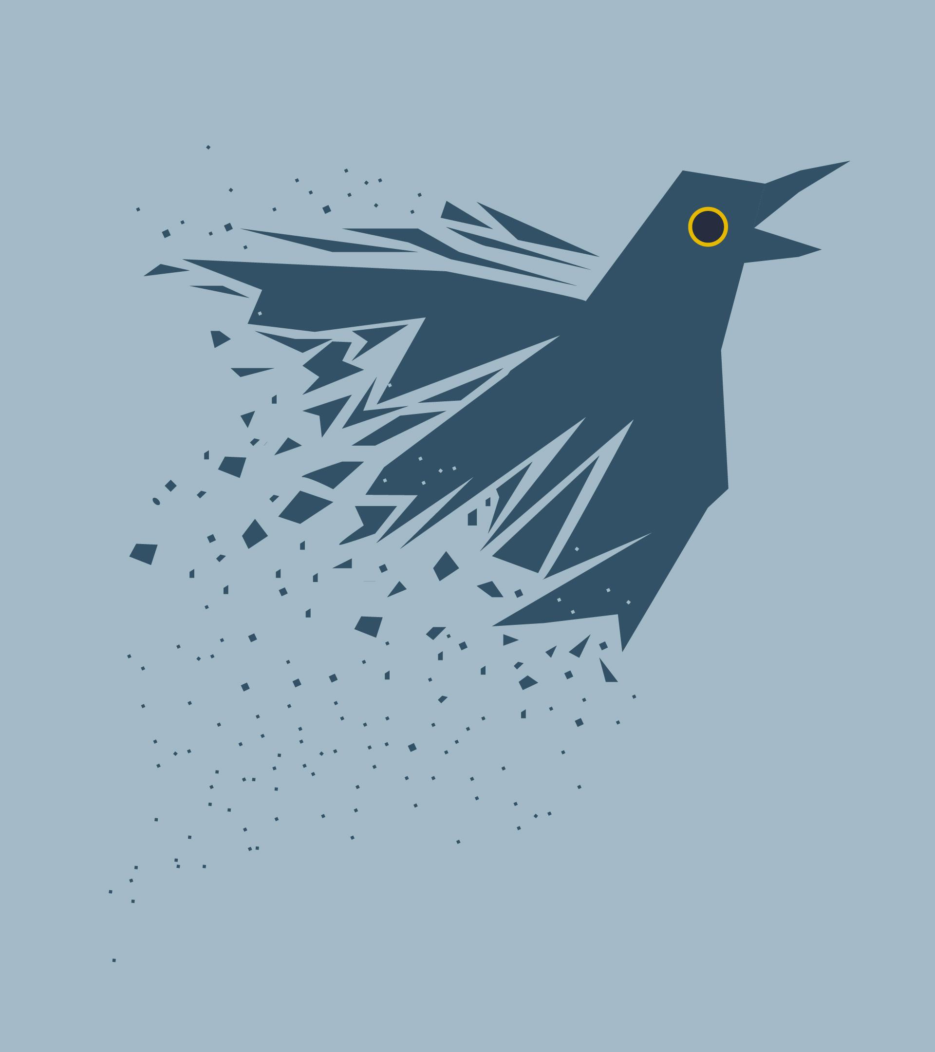 Un cuervo que se mueve y se deshace en pequeños fragmentos.
