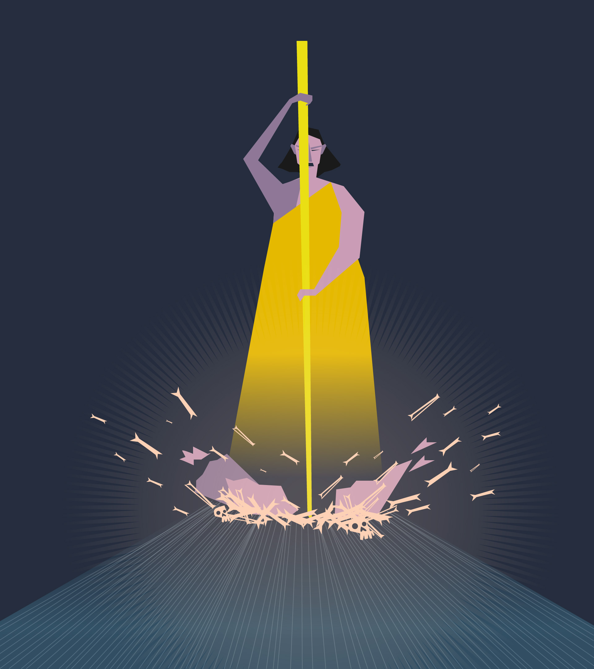 Personaje usa una vara y la imprime contra la tierra, produce un estruendo y hace desaparecer los huesos.