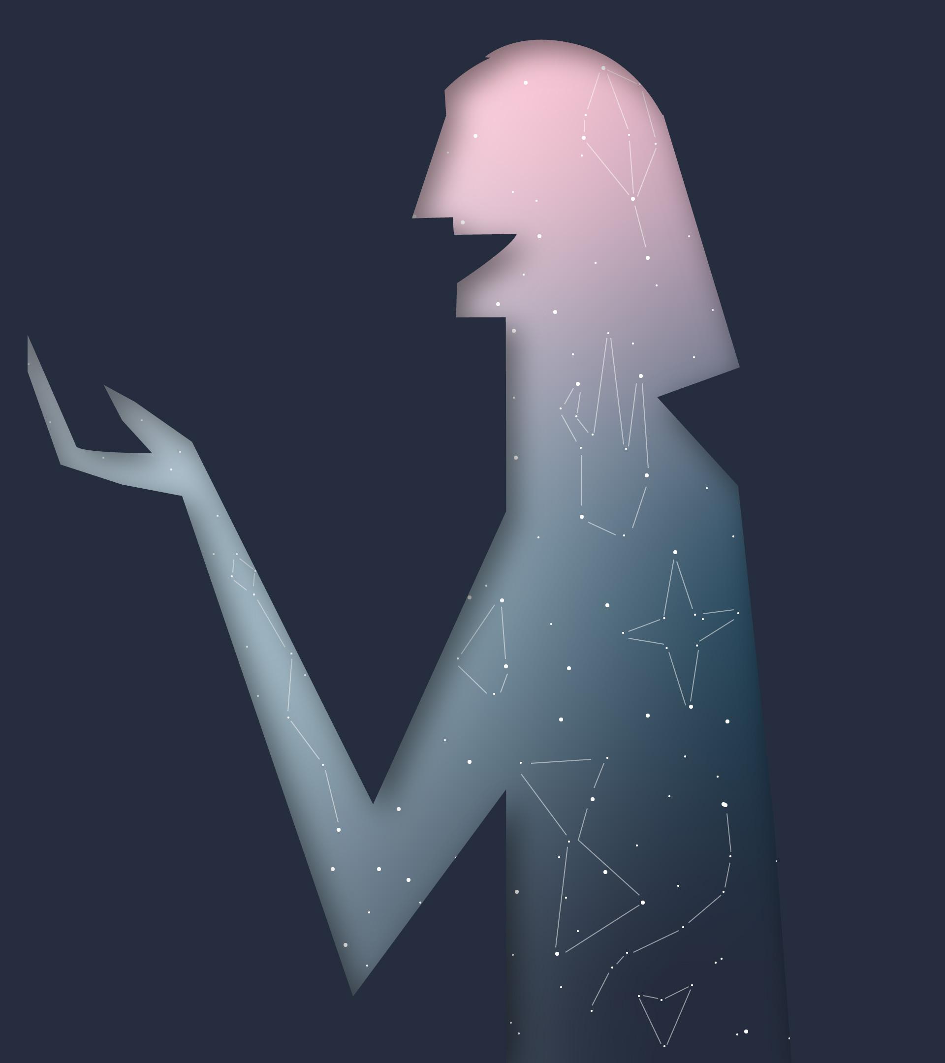 Silueta del personaje hablando, en el fondo están las estrellas y las constelaciones del firmamento.