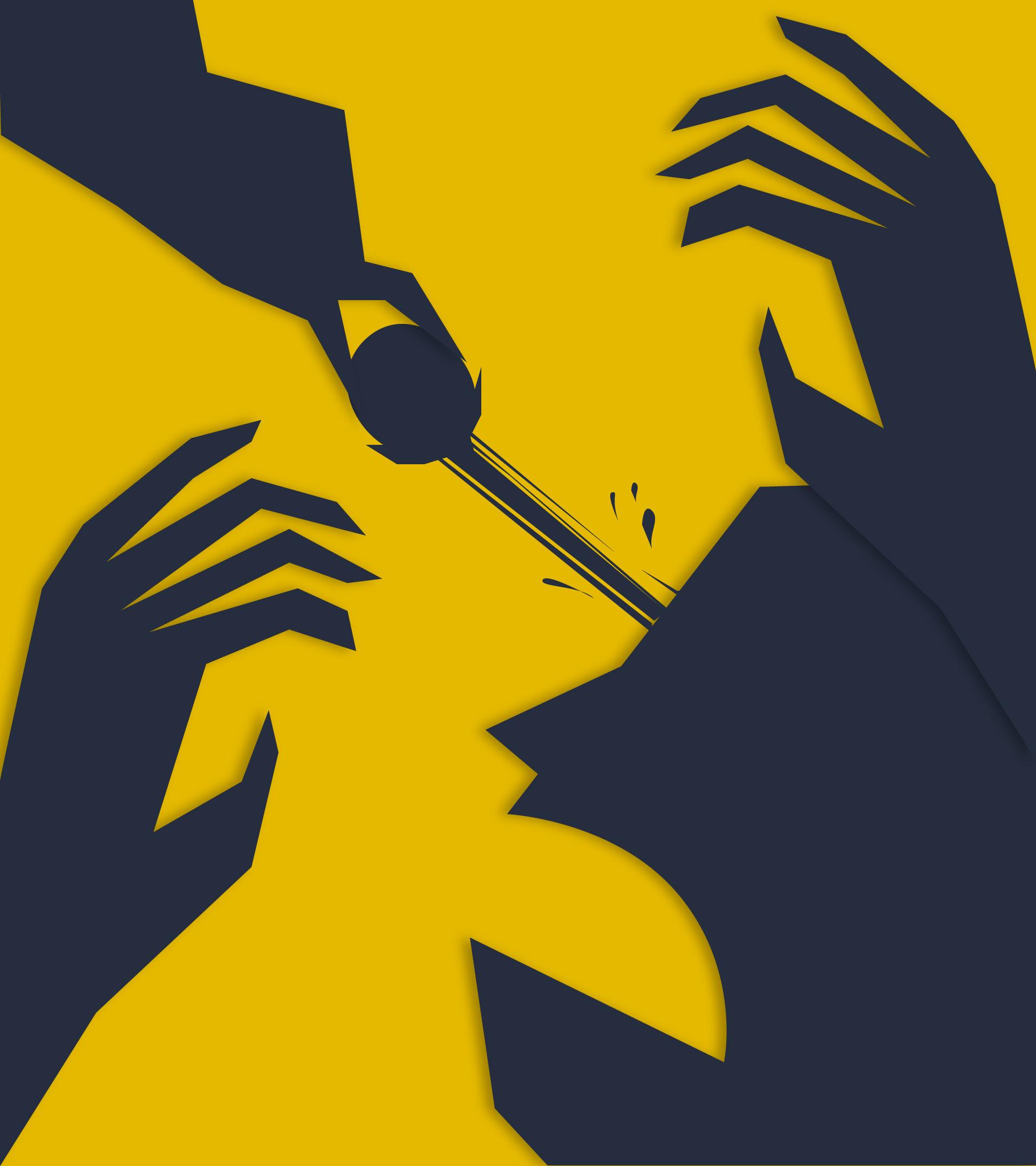 Un cuervo le quita un ojo al personaje. Sus manos se agitan del dolor.