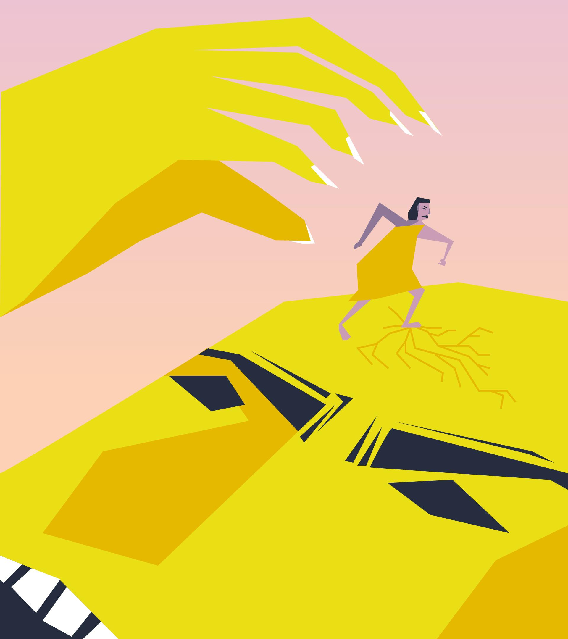 Personaje que se postra encima de la cara de un gigante que intenta atacarlo con su gran mano. Su pie le agrieta la sien.