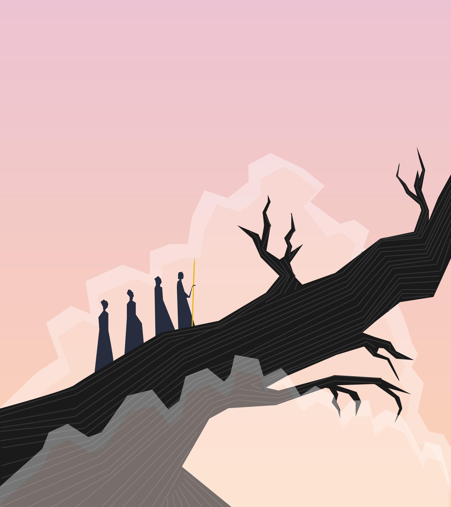 Una procesión de personas en una montaña seca que tiene ramas.