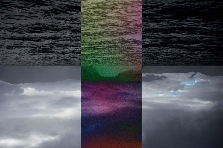 El firmamento y el mar, divididos con diferentes tonos, entre lo apagado y lo psicodélico.