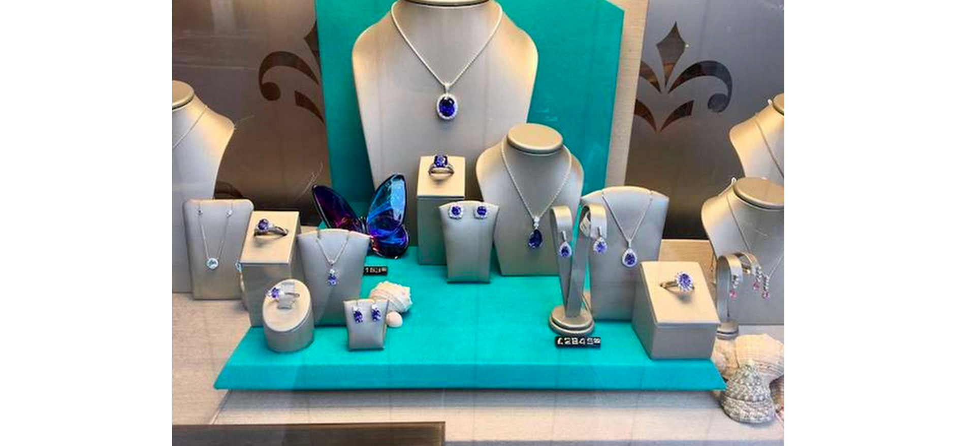 blue themed elegant visual merchandising jewellery store