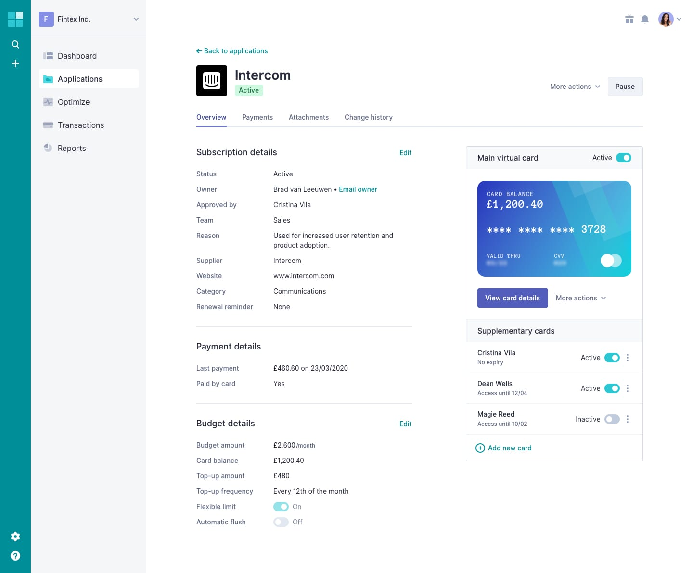 Screenshot of Application Detail
