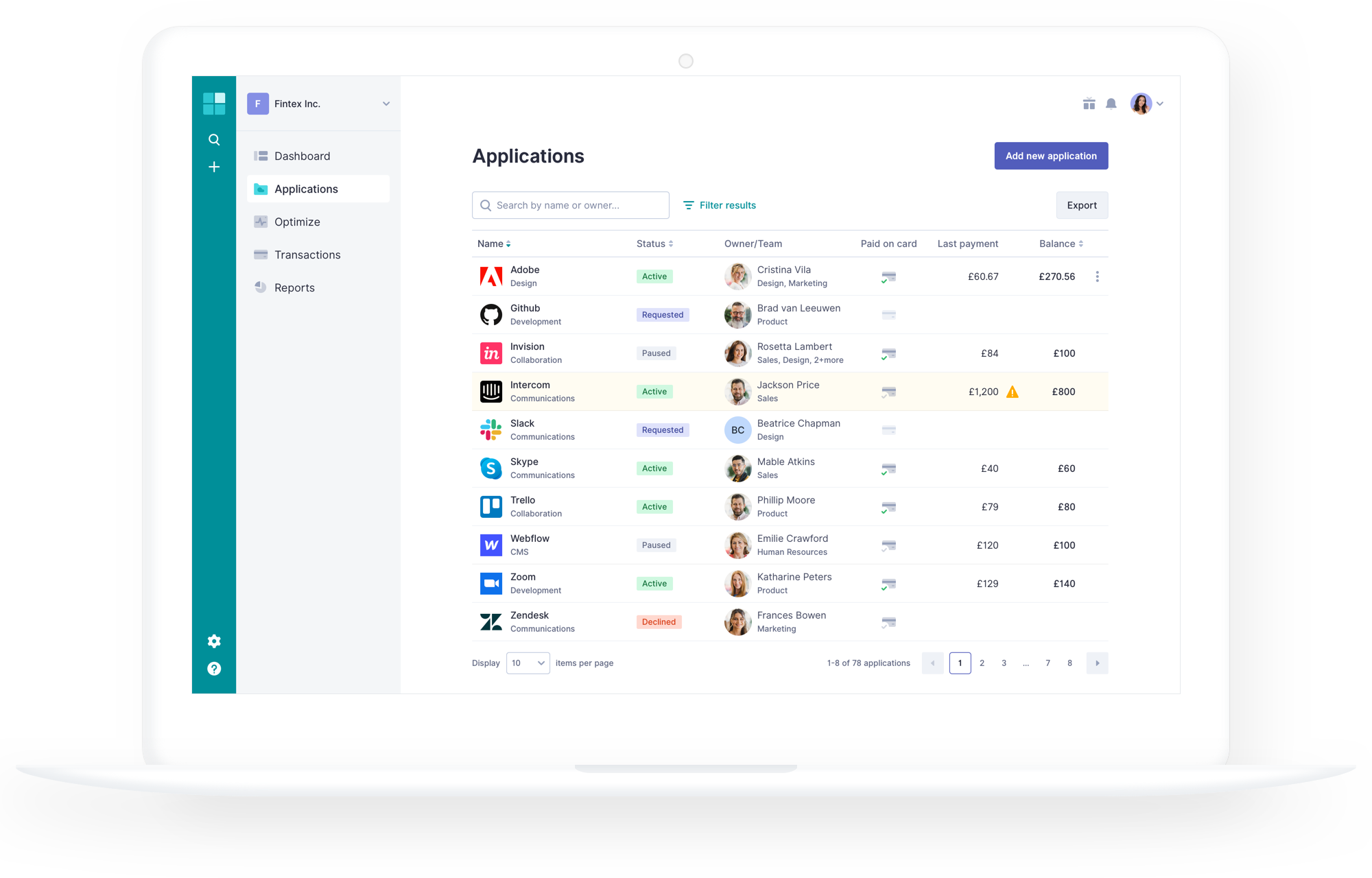 Manage Applications screenshot