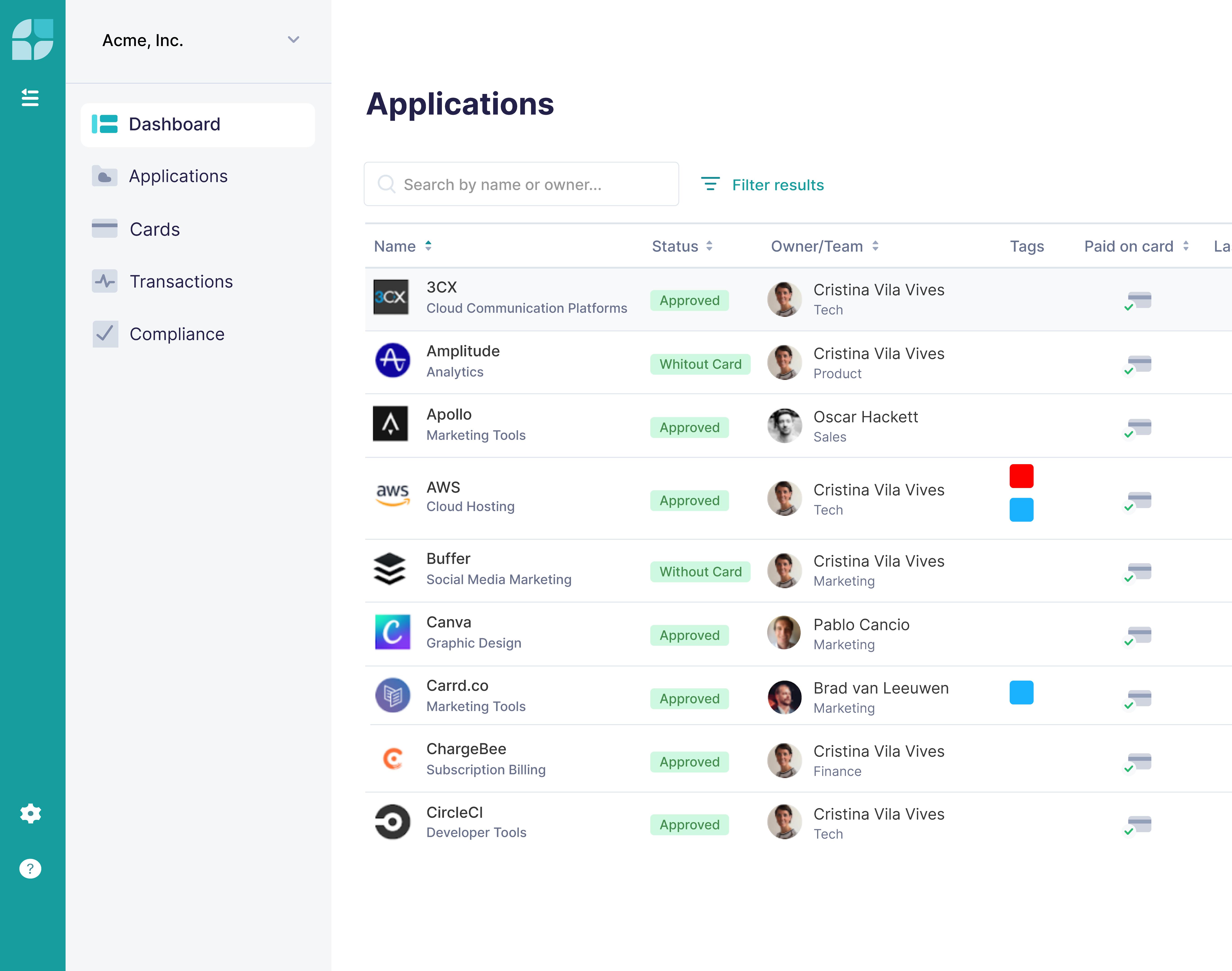 Screenshot of Applications
