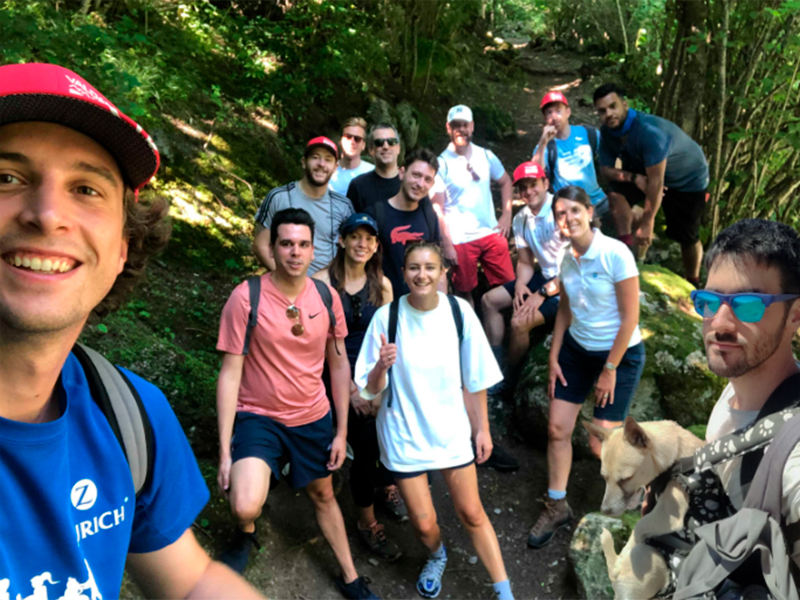 The team out on a hike.