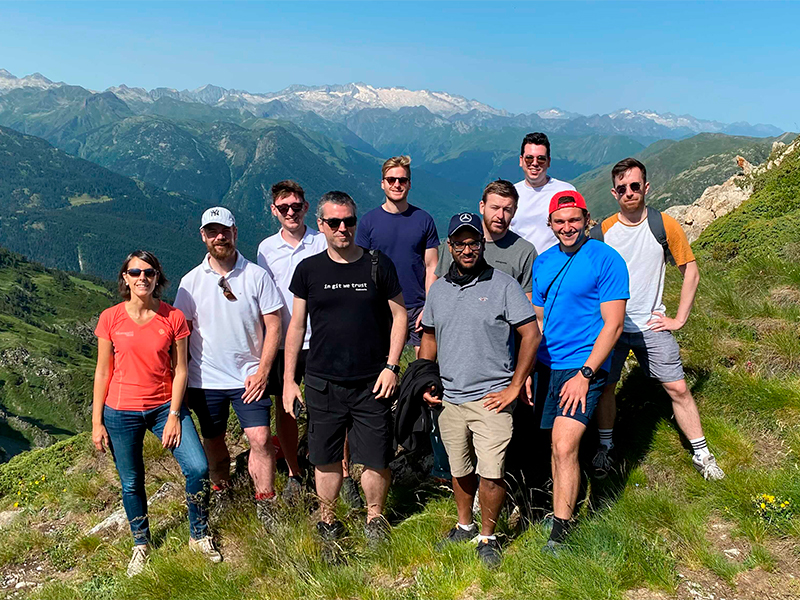 The Cledara team at the top of a mountain