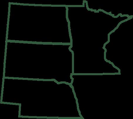 midwest state map of north dakota, south dakokta, minnesota and nebraska