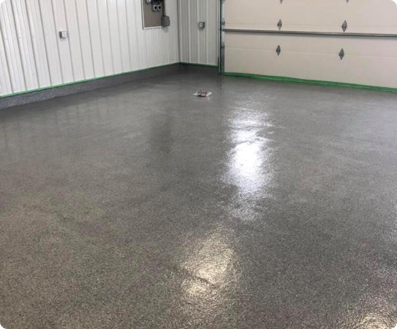 shop floor with gray epoxy coating