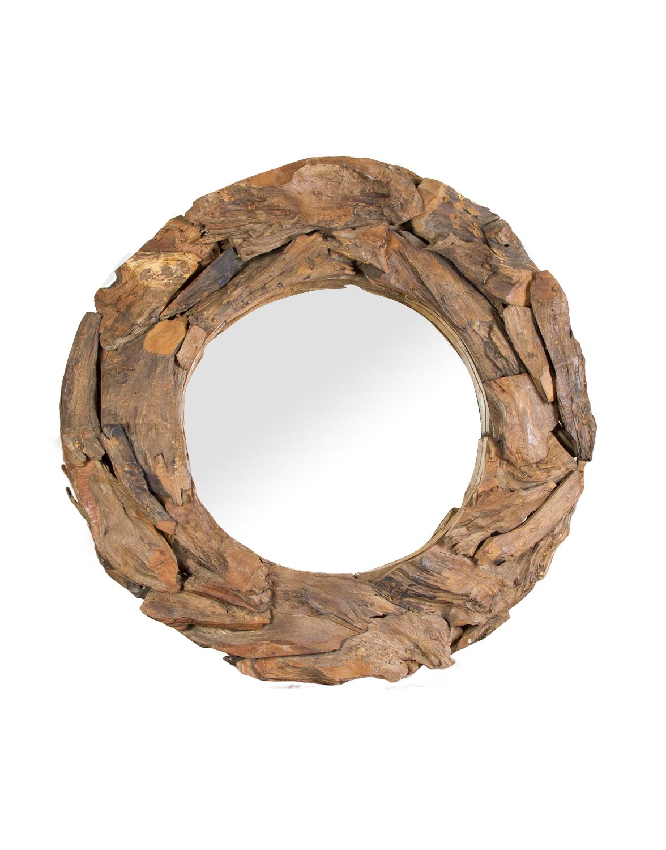 Espejo madera teka Redondo