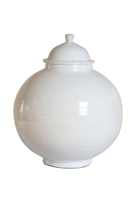 Recipiente con tapa en ceramica, 38 Cms
