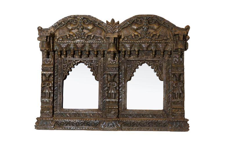 Marco de espejo madera Jharokha doble