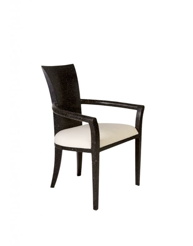 Black terrazzo stone chair