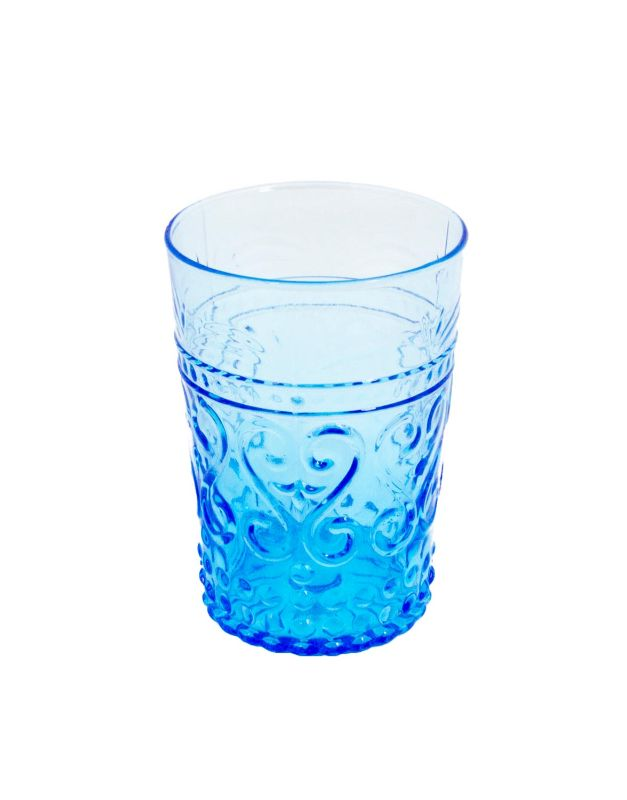 Large blue carved glass
