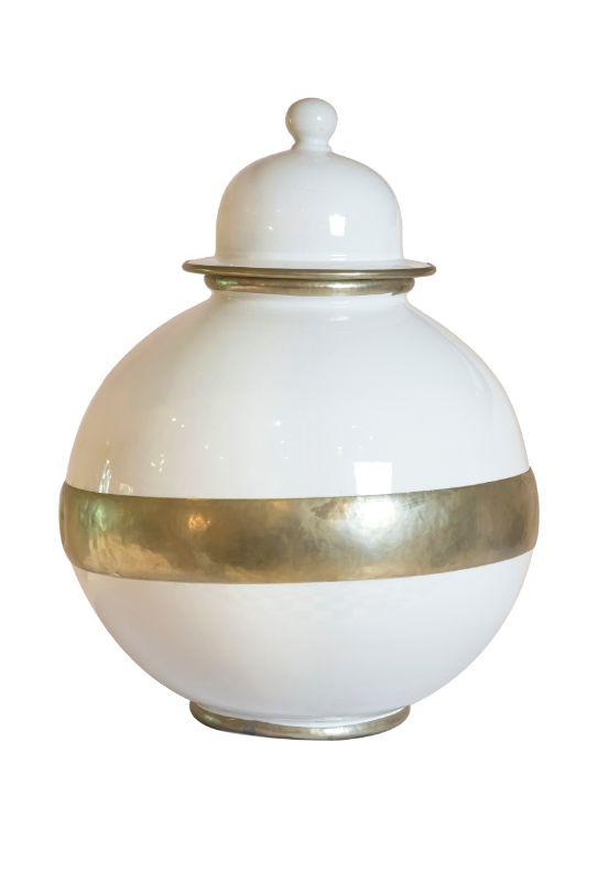 Recipiente con tapa en ceramica, 57 Cms