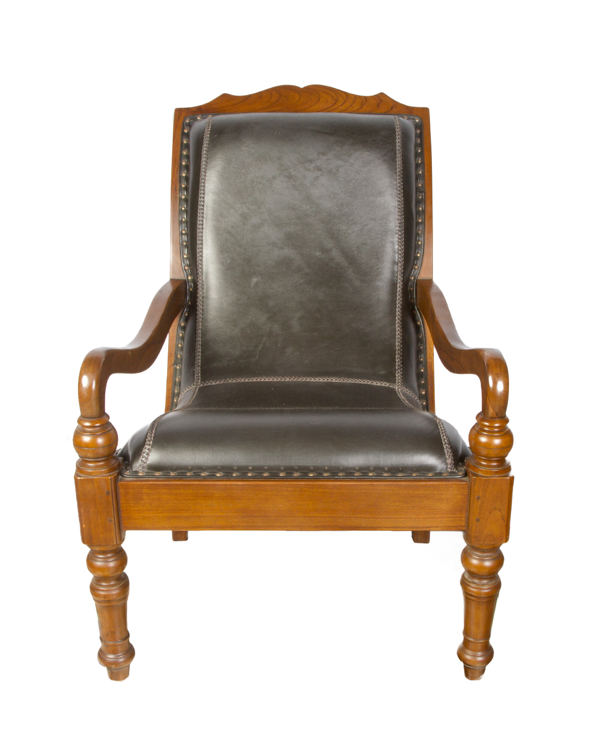 Plantation chair in wood and leather