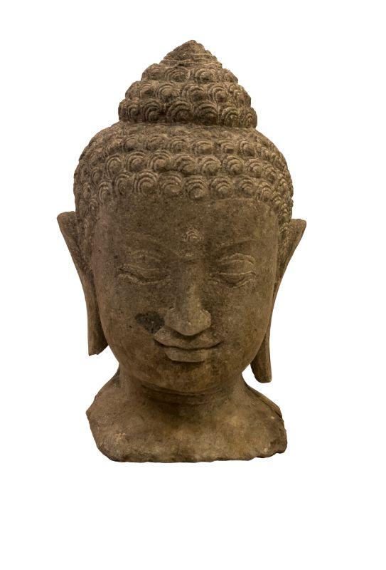 Estatua de piedra Cabeza Buda, gris osuro