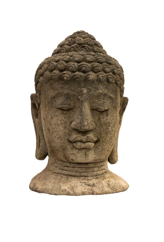 Estatua de piedra Cabeza Buda, gris claro