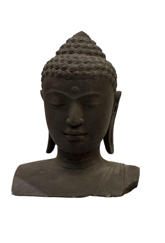 Estatua de piedra Cabeza Buda, negro