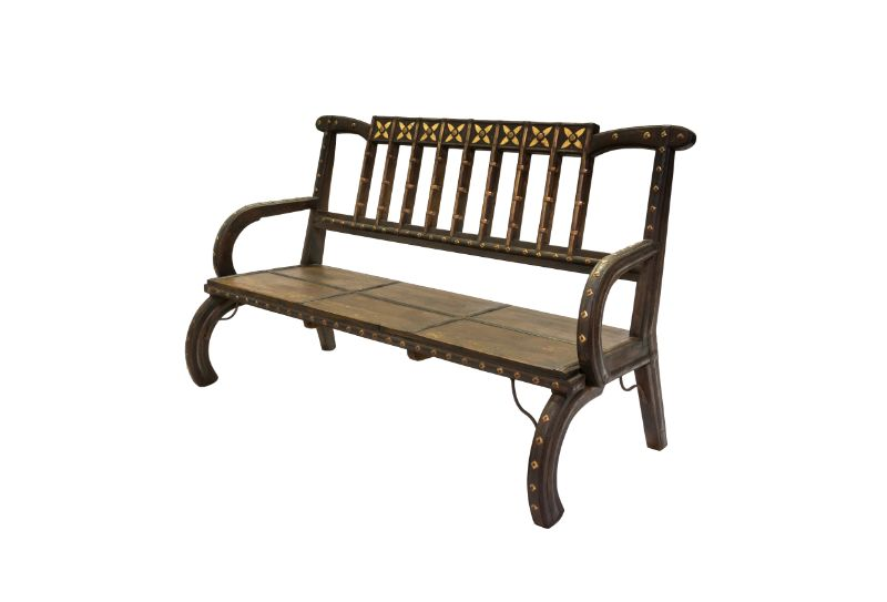 Indian bench wood and metal bars quatrefoil bars