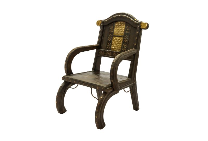 Indian wood and metal chair Cuatrifolio