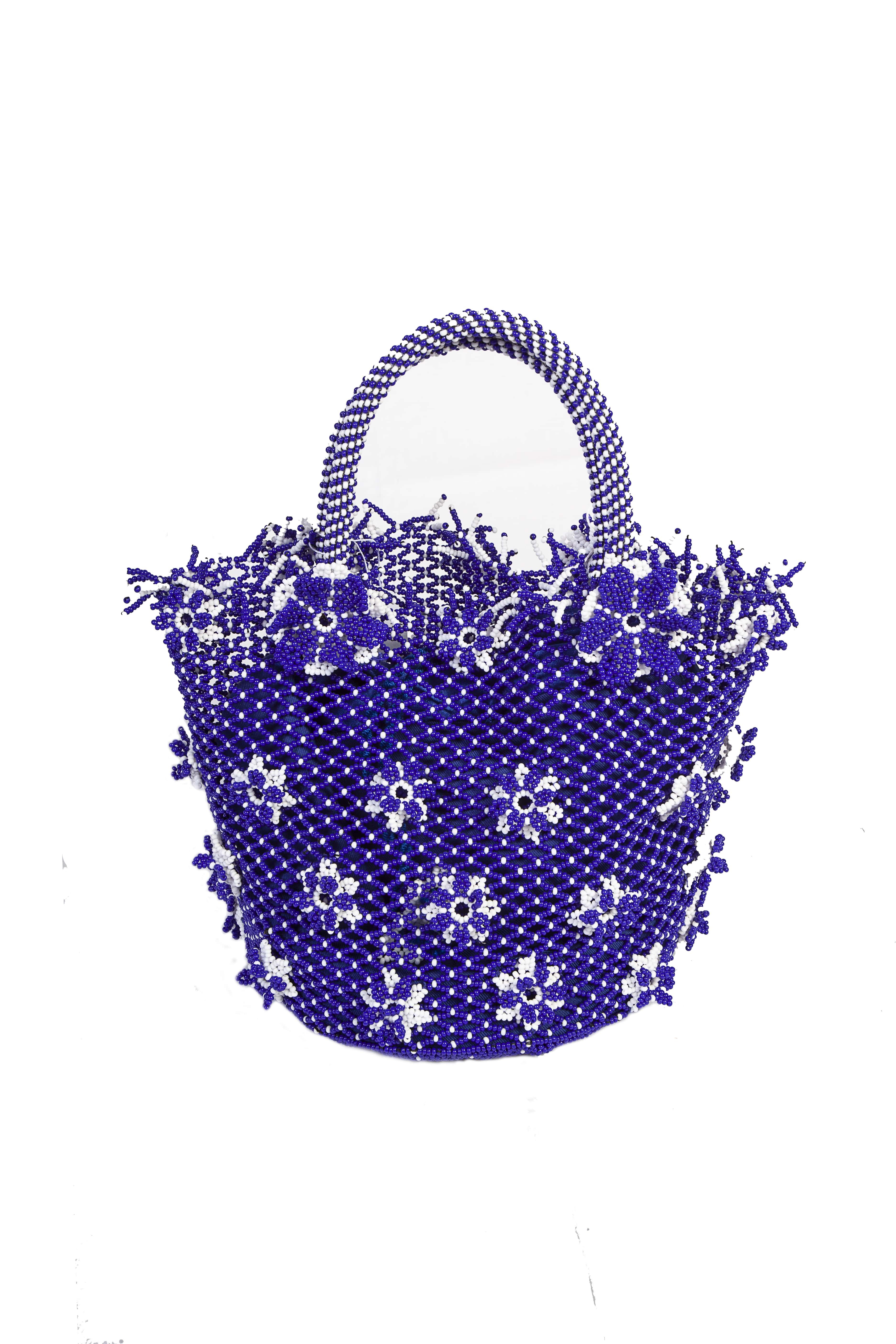Cartera Flores de Chaquira ,Azul